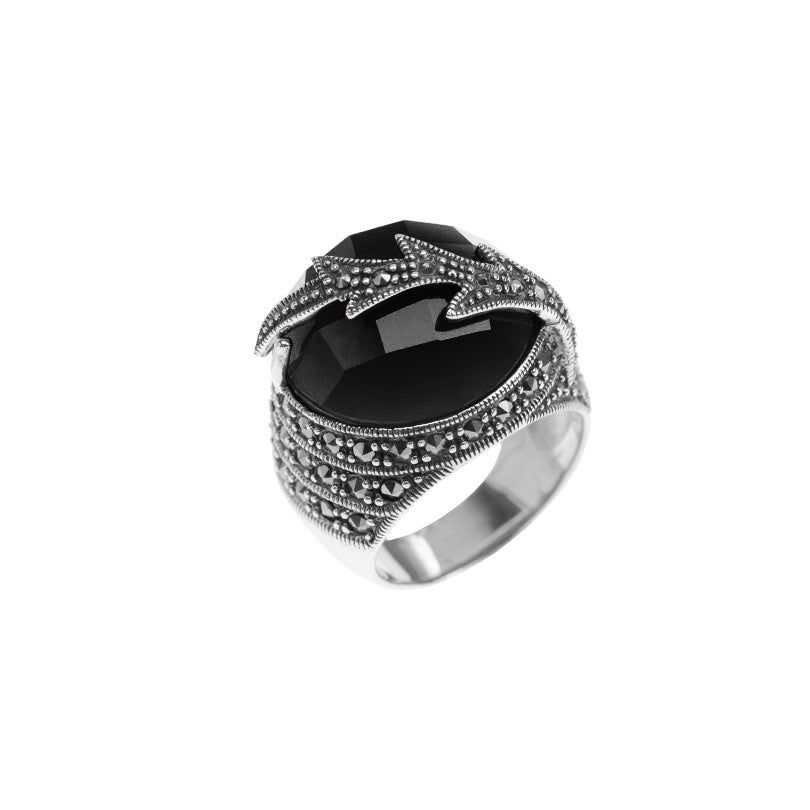 Bold Marcasite Lighting Bolt Carnelian Sterling Silver Ring