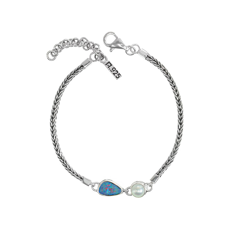 Elegant Australian Blue Opal and Fresh Water Pearl Sterling Silver Bali Bracelet