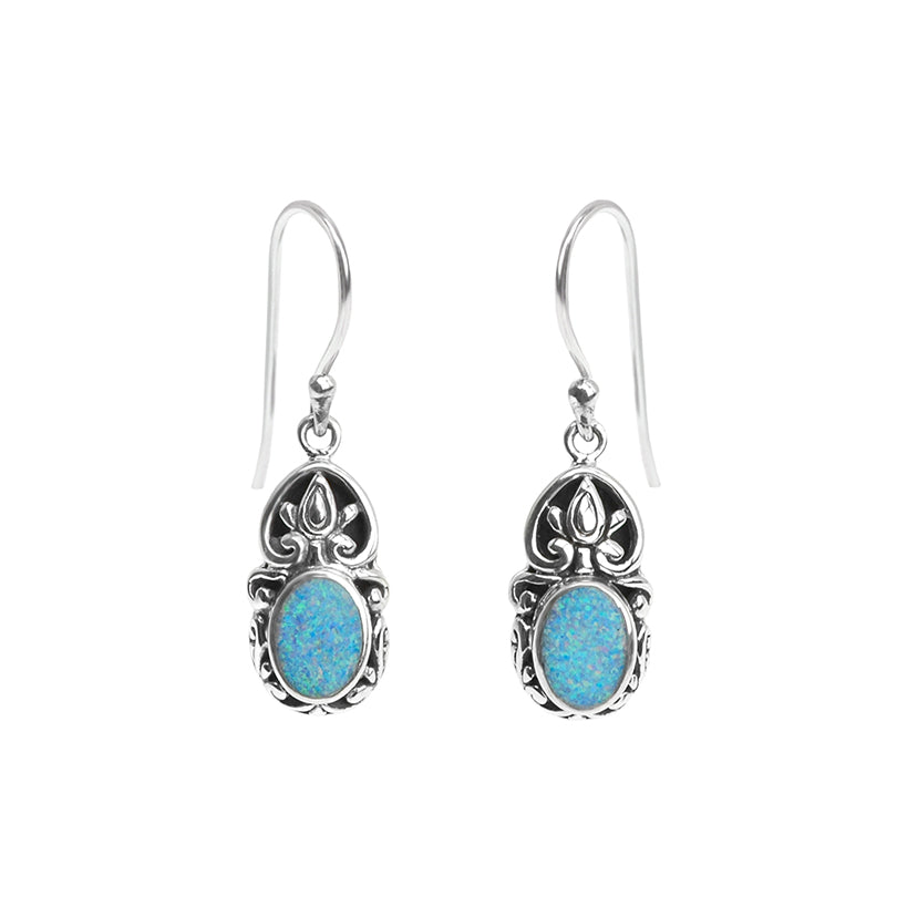Australian Blue Opal Sterling Silver Filigree Earrings