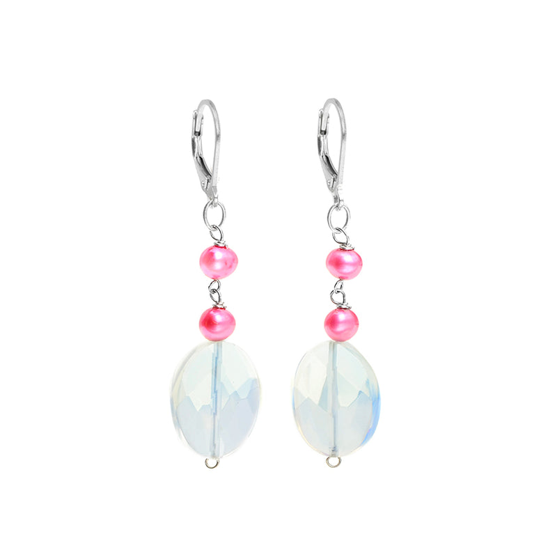 Sparkling Opalite and Hot Pink Fresh Water Pearl Earrings
