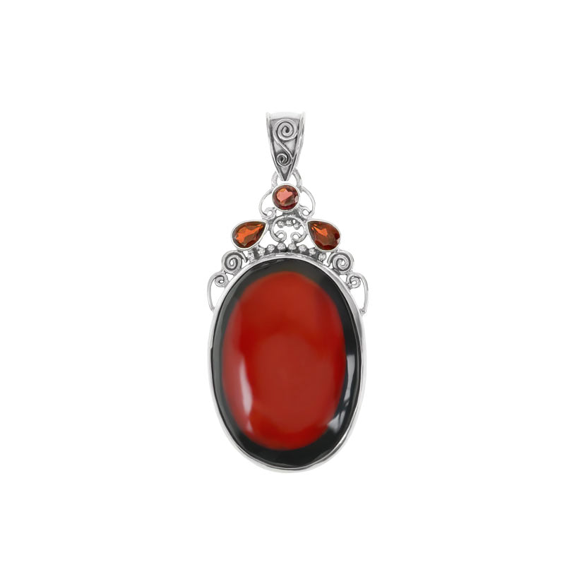 Balinese Coral with Black Border & Garnets Sterling Silver Statement Pendant