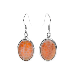 Sparkling Faceted Fire Agate Sterling Silver Earrings