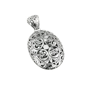 Stunning Large Ancient Balinese Filigree Design Sterling Silver Pendant