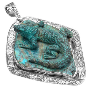 Masterpiece Carved Turquoise Lizard Sterling Silver Pendant