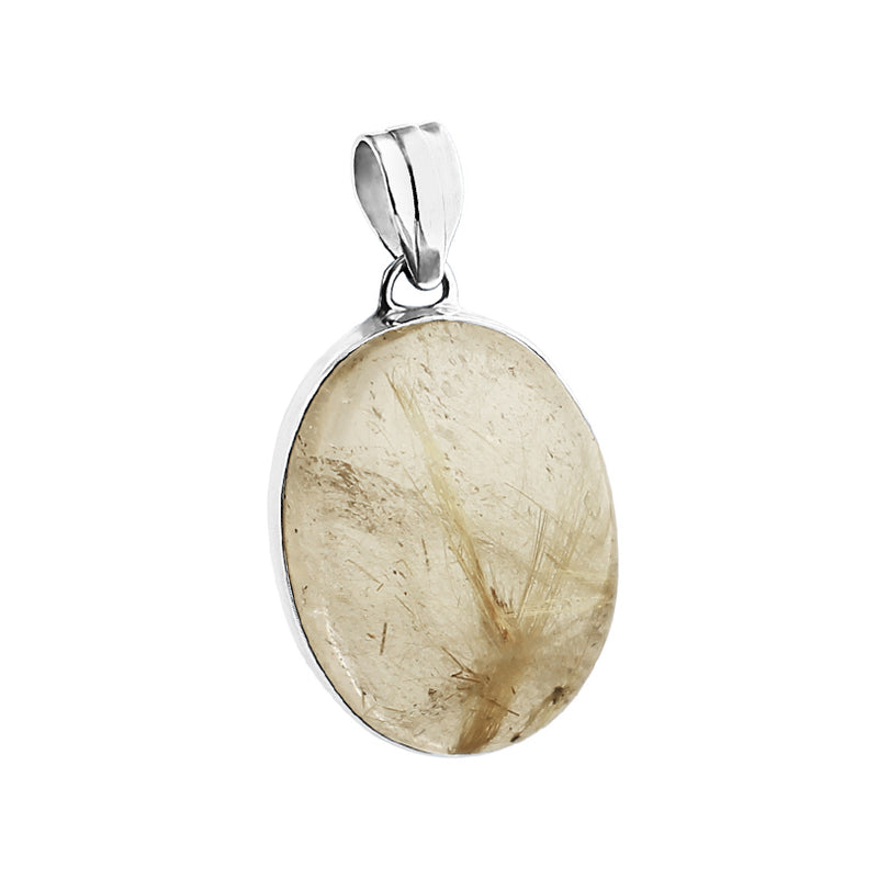 Gorgeous Gold Rutilated Quartz Sterling Silver Statement Pendant