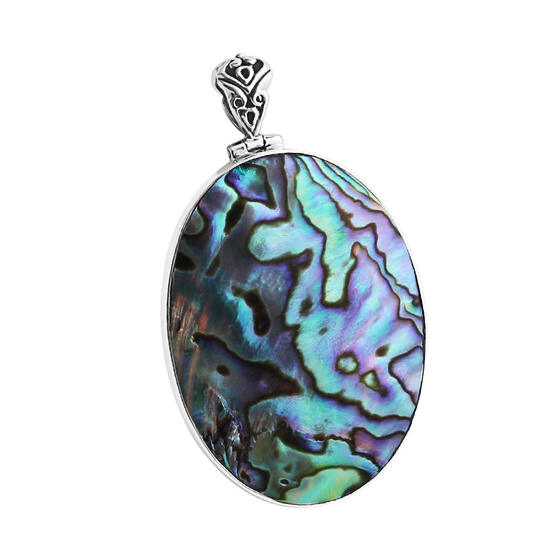 Shimmering Balinese Abalone Shell Sterling Silver Pendant