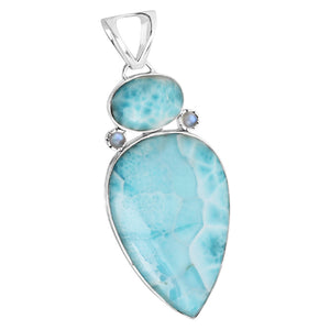 Gorgeous Large Larimar and Moonstone Sterling Silver Pendant