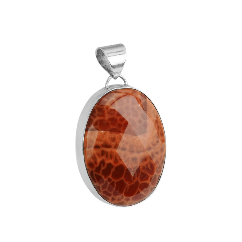 Beautiful Faceted Orange Sedona Fire Agate Sterling Silver Pendant