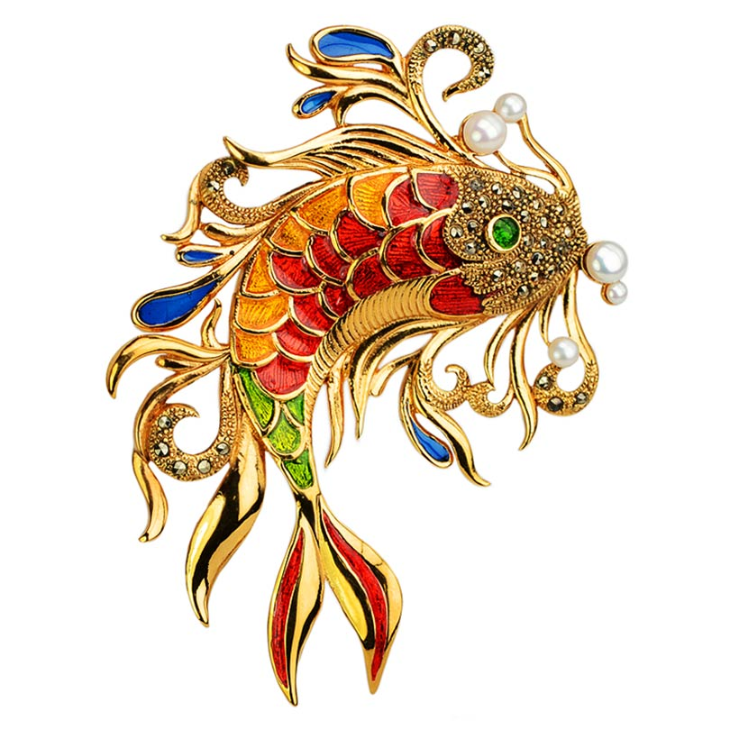 Captivating Koi Fish Brooch With Marcasite Enamel and Pearl
