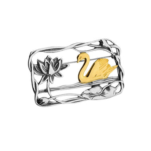 Designer GL Netherland Art Deco Design Swan Brooch Sterling Silver with 18kt Gold
