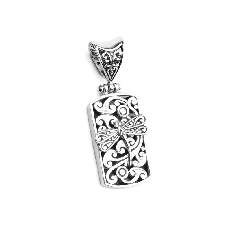Stunning 3-Dimensional Dragonfly Filigree Sterling Silver Pendant