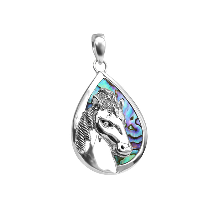 Gorgeous 3-D Sterling Silver Horse on Bright Abalone Background Pendant