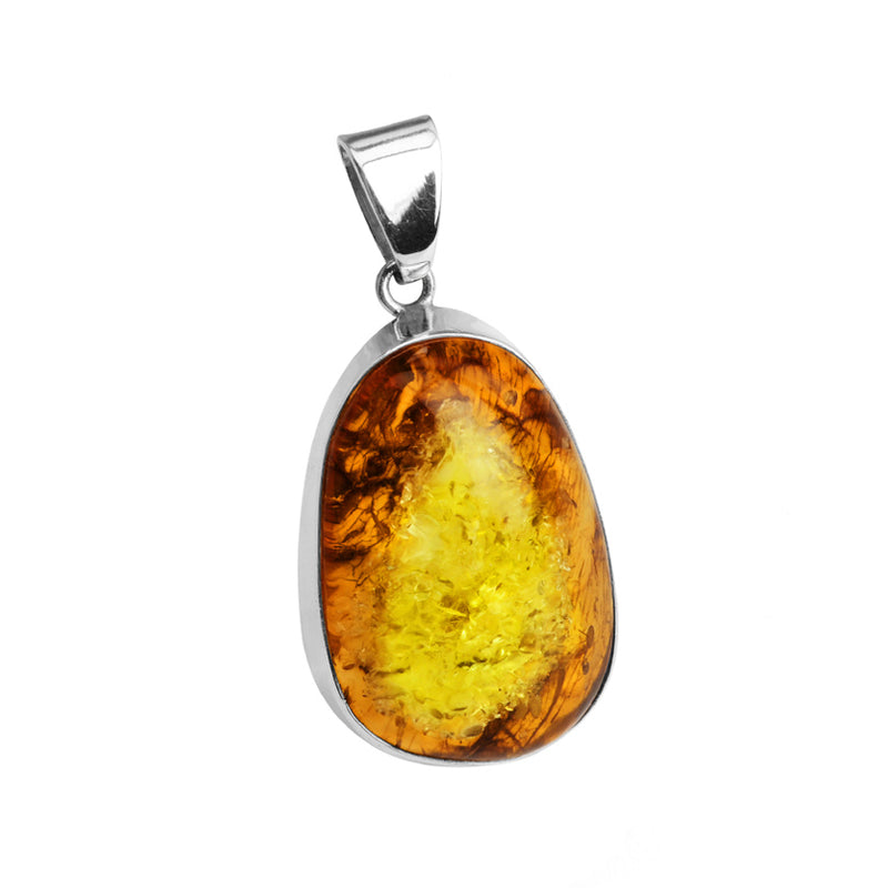 Stunning Chunky Baltic Amber Cognac Sterling Silver Pendant