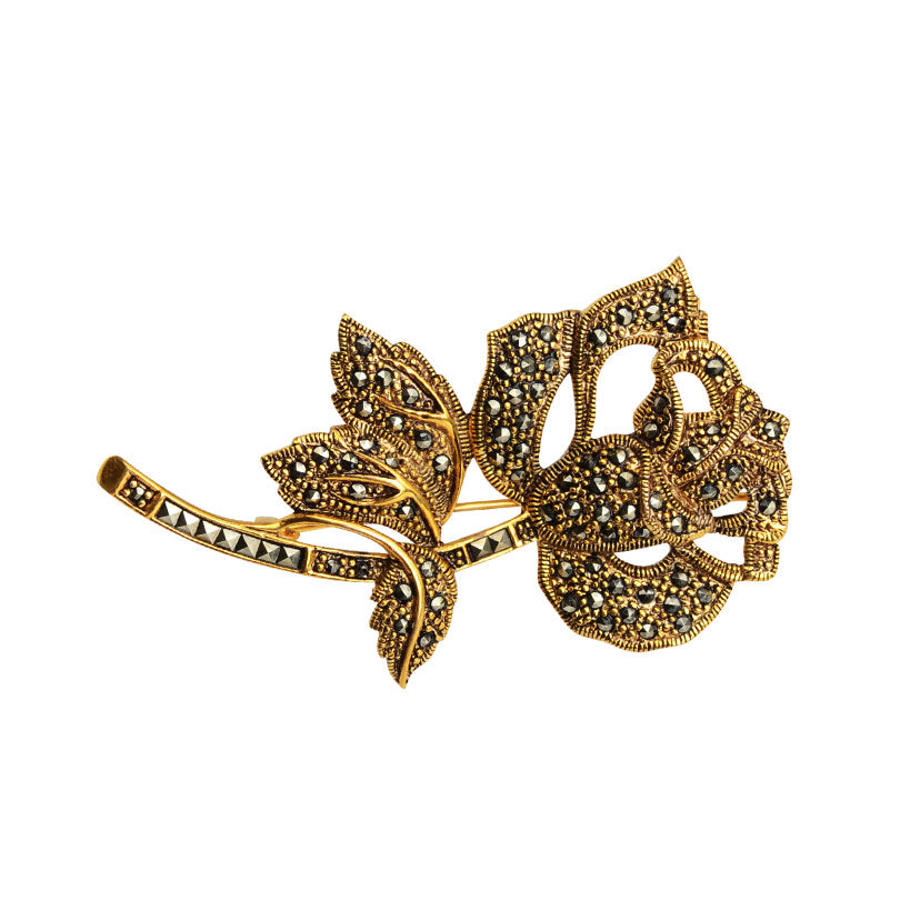 14kt Gold Plated Marcasite Rose Brooch
