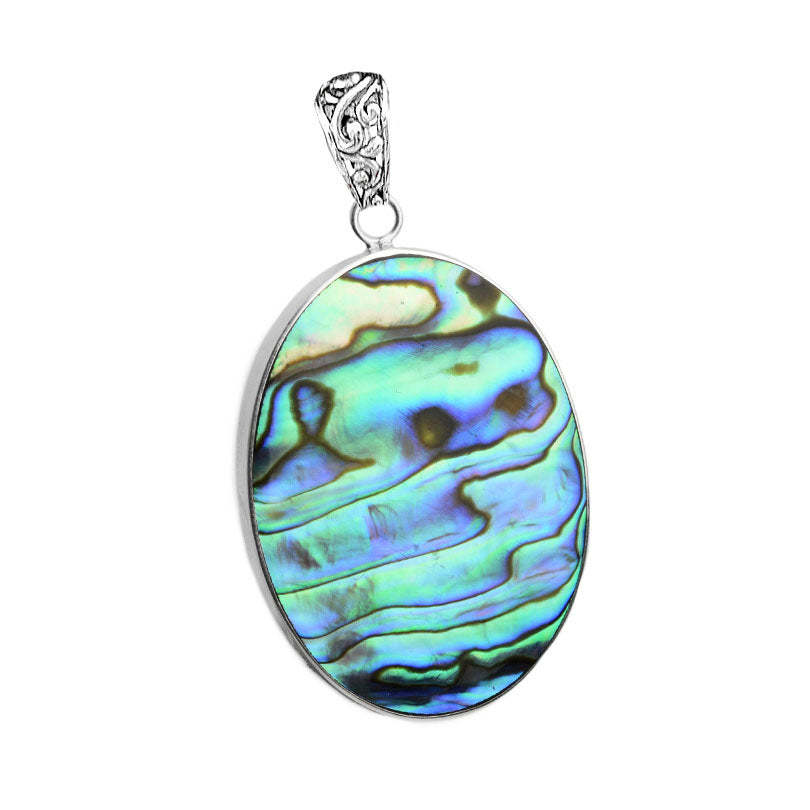 Brilliant Abalone And Coral Reversible Sterling Silver Pendant