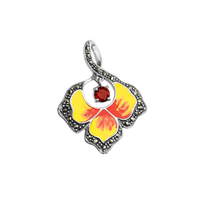 Fiery Red and Yellow Marcasite Enamel Leaf Pendant with Garnet