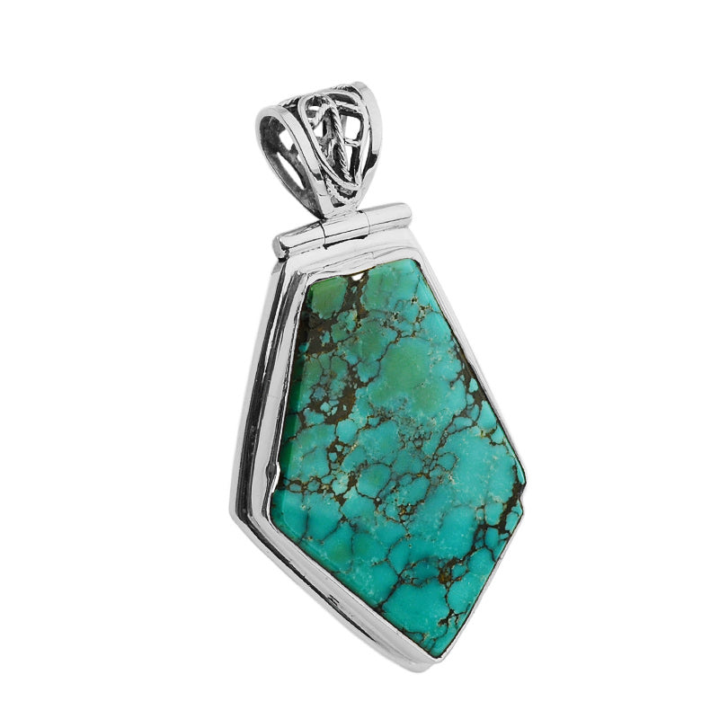 Genuine Natural Color Turquoise Sterling Silver Pendant