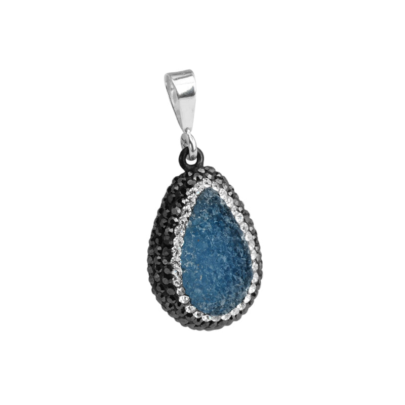 Blue Drusy & Hematite & Crystal Sterling Silver Pendant with chain