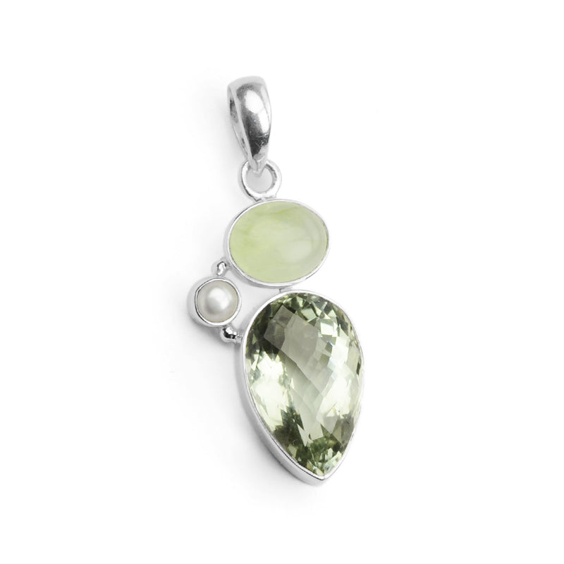 Beautiful Multi-Faceted Green Amethyst, Prehnite & Pearl Sterling Silver Pendant