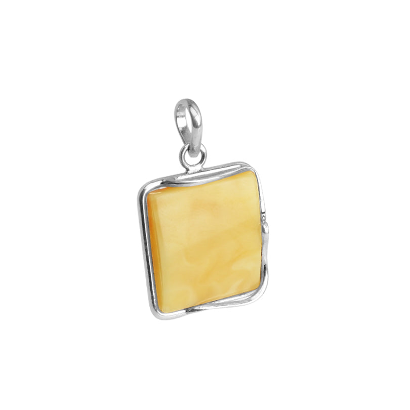 Beautiful Yellow Butterscotch Baltic Amber Sterling Silver Pendant