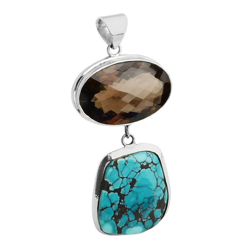 Gorgeous Turquoise & Smoky Quartz Sterling Silver Statement Pendant