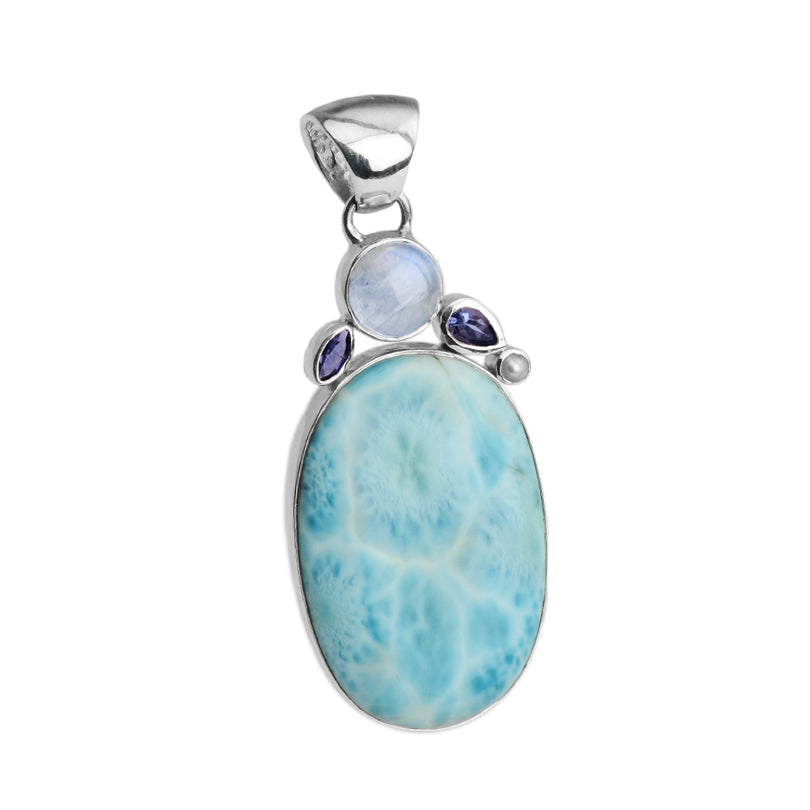 Larimar, Moonstone and Iolite Sterling Silver Statement Pendant