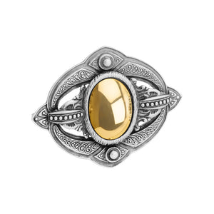 Timeless Classics by GL Netherland Designs Rhodium Plated Sterling Silver Brooch with 18kt Gold Plated Center