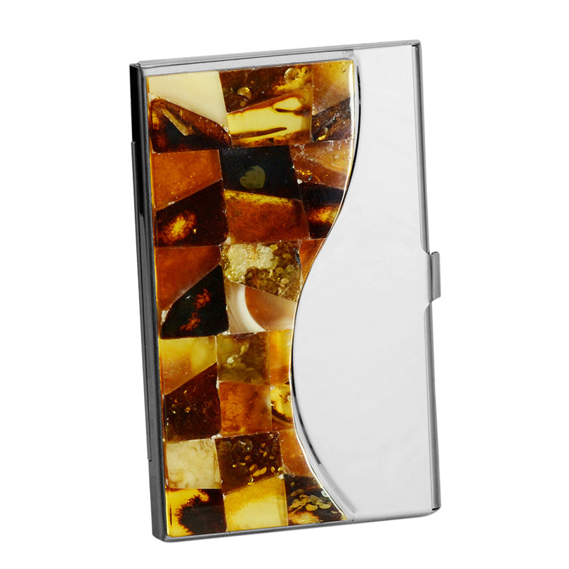 What A Rare Find!  Exquisite Mosaic Of Mixed Baltic Amber Credit Card Or Business Card Holder