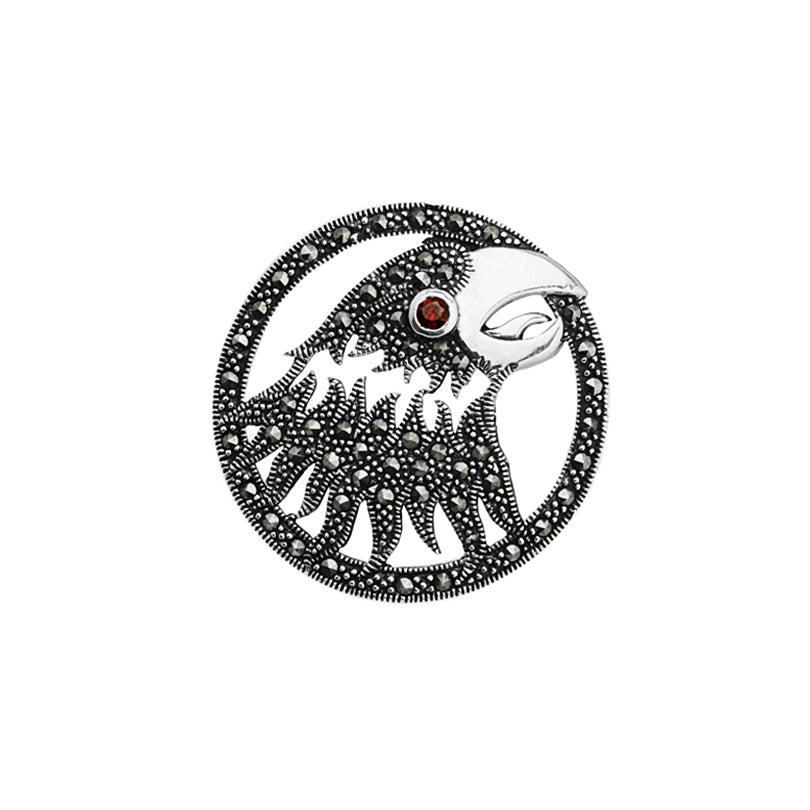 Stunning Marcasite Eagle Brooch with Garnet Eye