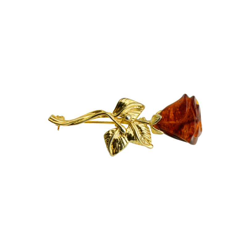 Polish Designer Carved Cherry Baltic Amber Gold Plated Sterling Silver Rose Brooch