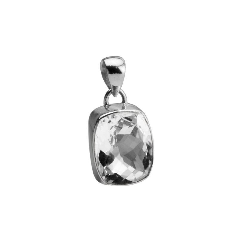 Lovely Sparkling Faceted Quartz Sterling Silver Pendant