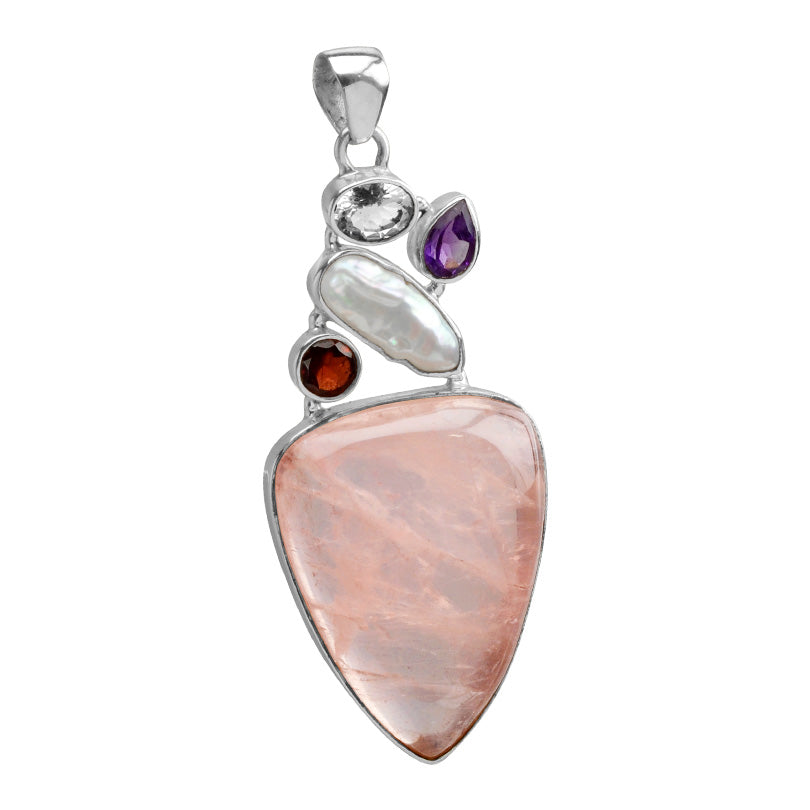 Beautiful Vibrant Rose Quartz with Garnet & Amethyst Sterling Silver Pendant-one of a kind