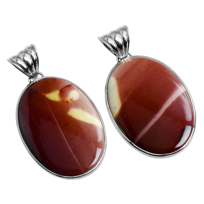 Amazing Natural Color of  Sunset Red Moukaite Sterling Silver Statement Pendant
