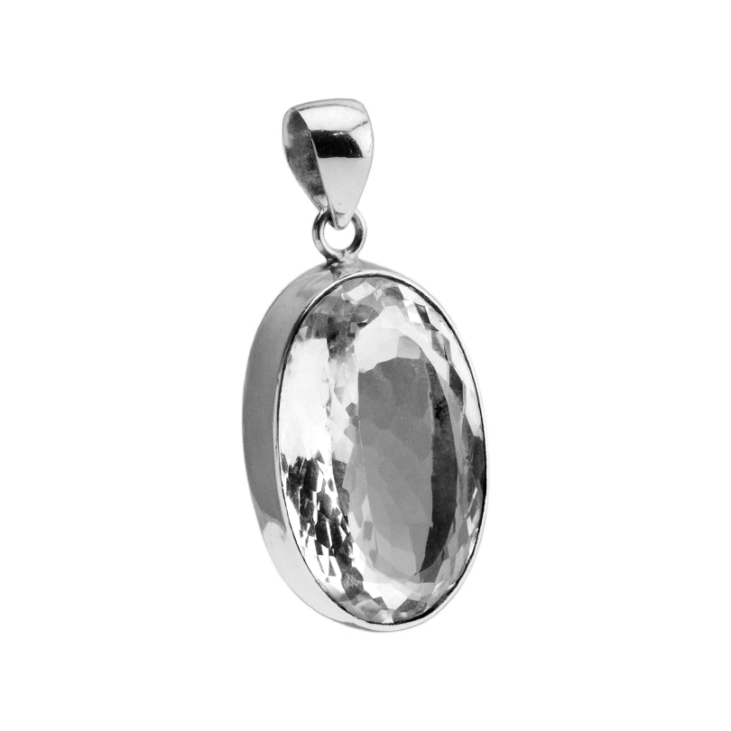 Gorgeous Diamond Cut Faceted Quartz Sterling Silver Pendant