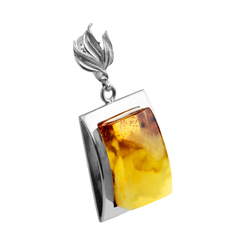 Outstanding Butterscotch Baltic Amber Sterling Silver Statement Pendant
