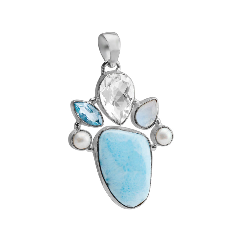 Gorgeous Larimar and Quartz with Blue Topaz, Pearl and Moonstone Sterling Silver Statement Pendant