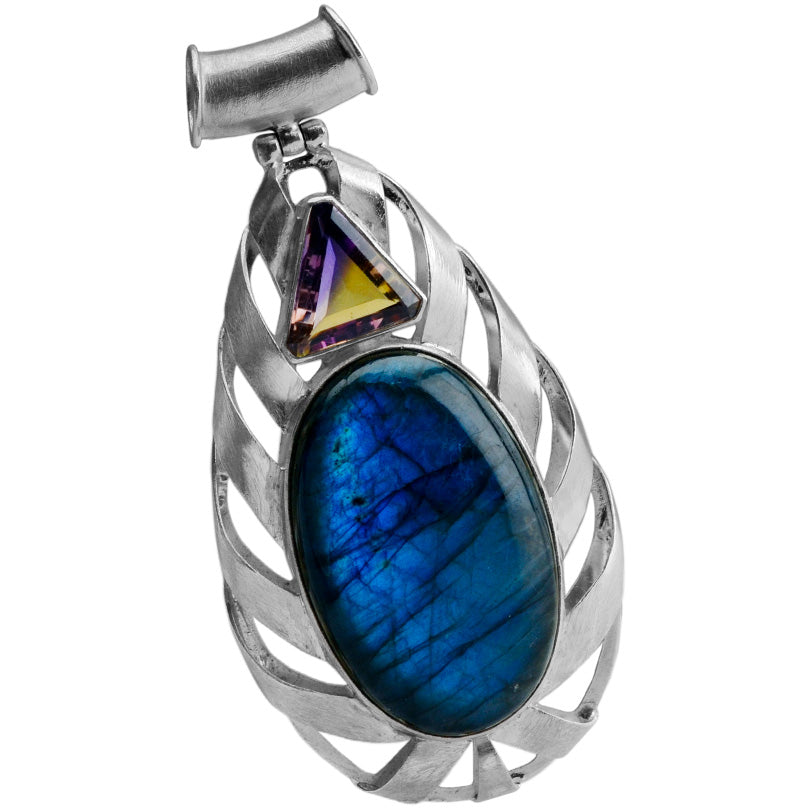 Magnificent Labradorite with Triangular Amethyst Sterling Silver Statement Pendant