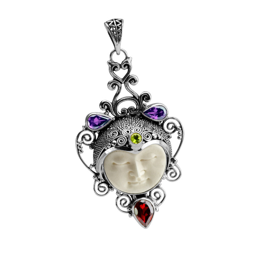 Serene Carved Face with Gemstone and Carved Bone Sterling Silver Pendant