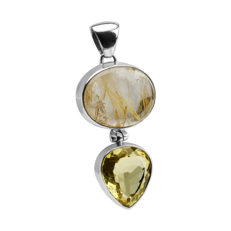 Beautiful Golden Rutilated Quartz and Lemon Quartz Sterling Silver Pendant-one of a kind!