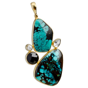 Starborn Magnificent Turquoise with Mixed Stones Statement Pendant