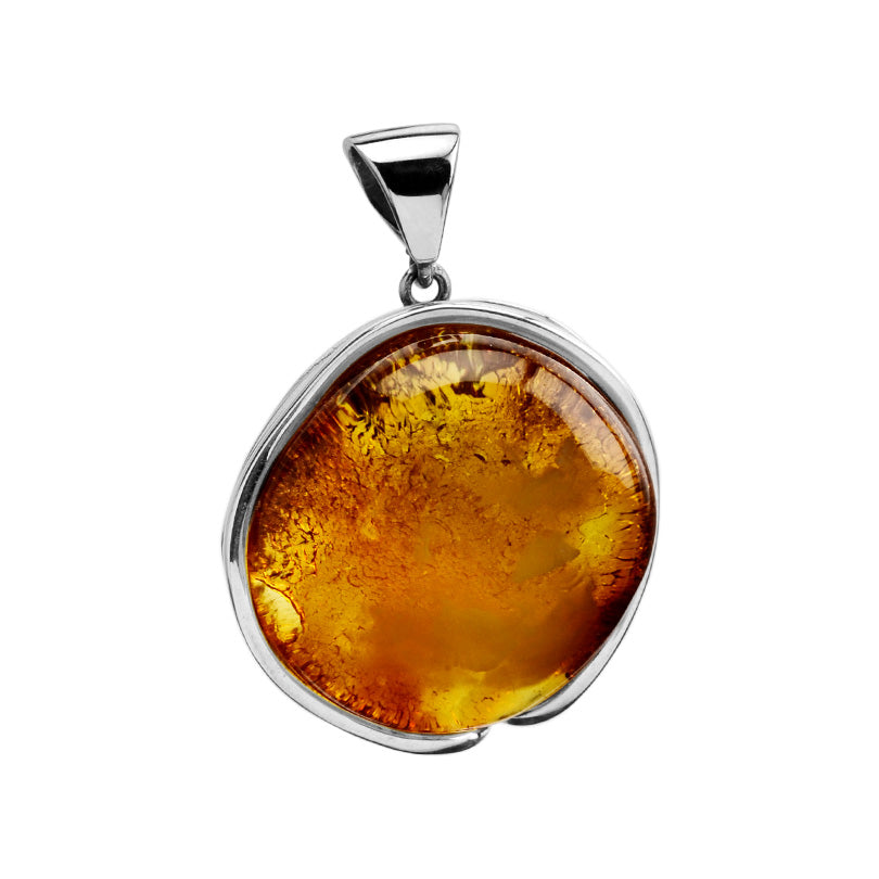 Bright Glistening Large Honey Cognac Baltic Amber Sterling Silver Statement Pendant