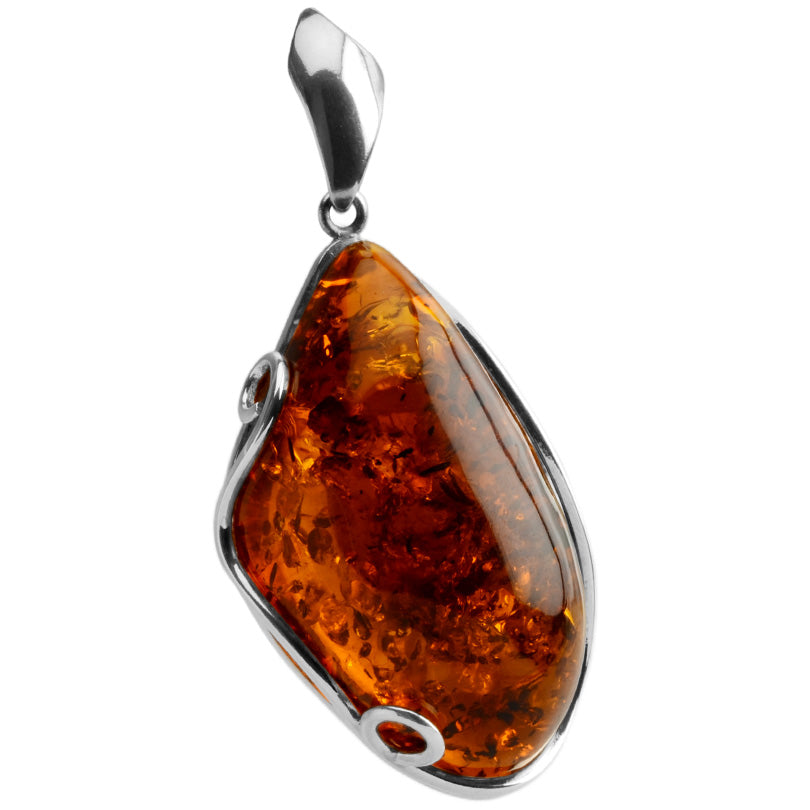 Superior Large Deep Cognac Baltic Amber Sterling Silver Statement Pendant