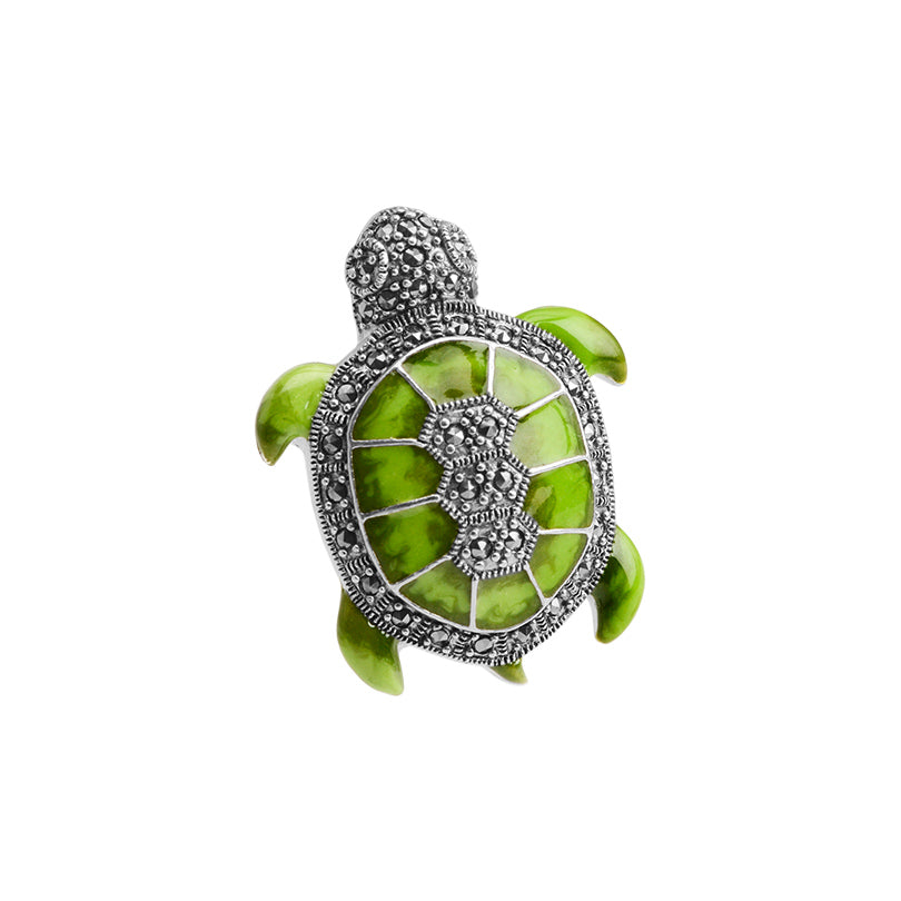 Adorable Green Turtle with Marcasite Sterling Silver Pendant/Brooch