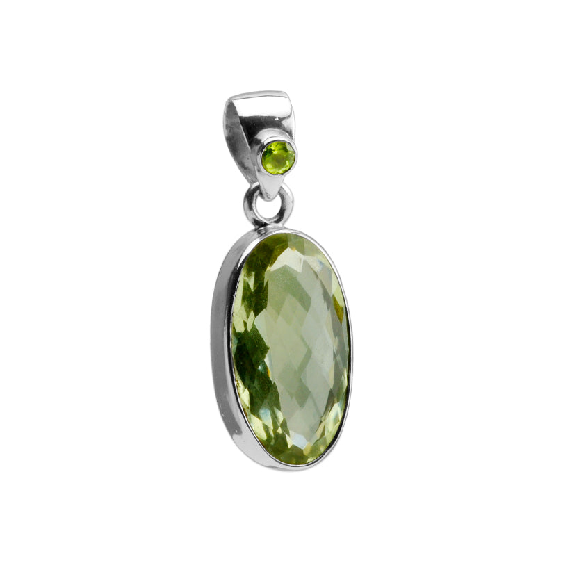Sparkly Diamond Cut Faceted Green Amethyst With Peridot Accent Sterling Silver Pendant