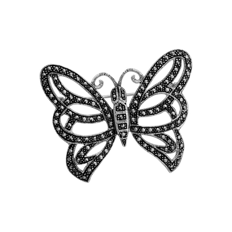 Marcasite Platinum Plated Butterfly Brooch