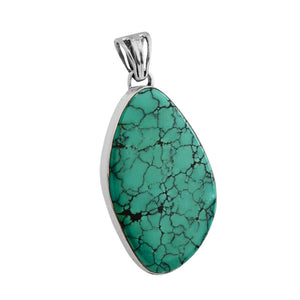 Large Genuine Turquoise Sterling Silver Statement Pendant
