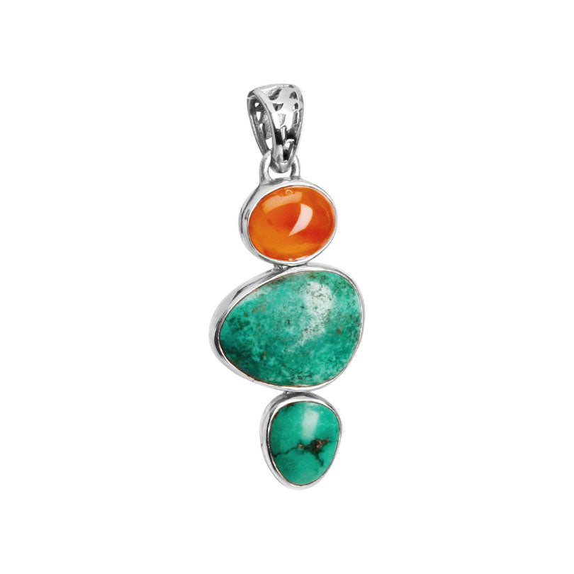 Spectacular Sea Foam Blue-Green Turquoise And Vibrant Carnelian Sterling Silver Pendant.