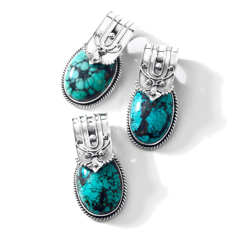 Gorgeous Turquoise Sterling Silver Statement Pendant