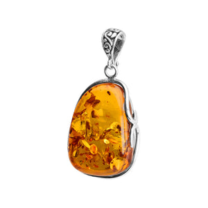Golden Cognac Sparkling Baltic Amber Sterling Silver Pendant