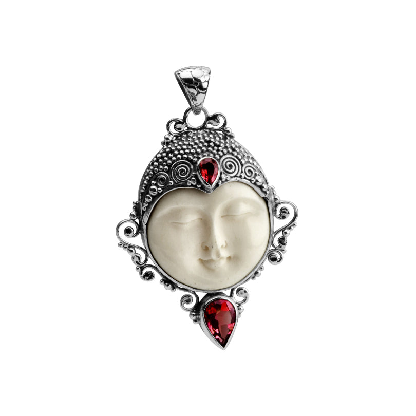 Serene Carved Balinese Face with Garnet Sterling Silver Pendant